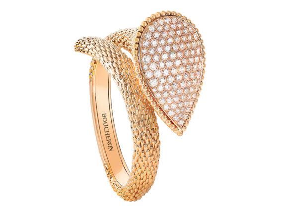 Boucheron - Serpent Bohème ring mounted on yellow gold with diamonds