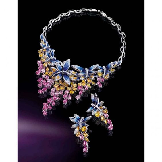 Necklace and earrings in white Gold 18 ct, diamonds, Sapphires and micromosaic by SICIS