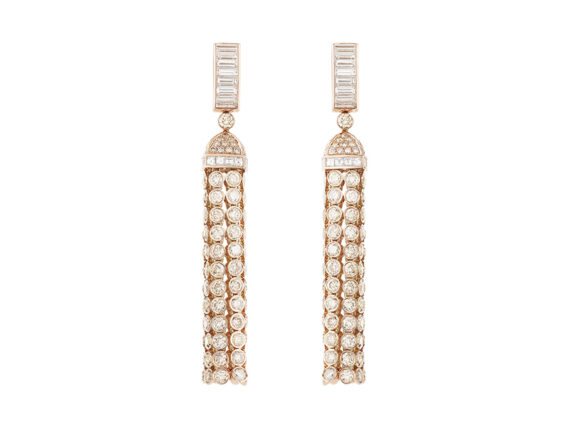 Boucheron - Pompon pendant earrings mounted on rose gold with diamonds