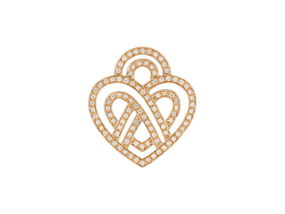 Poiray Coeur fil pendant mounted on rose gold with diamonds