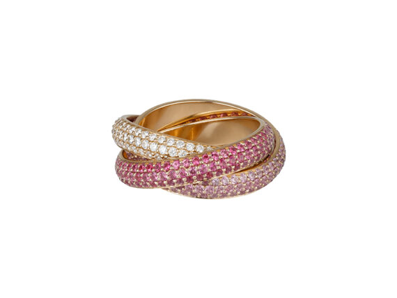 Cartier Trinity ring mounted on rose gold with diamonds and pink sapphires