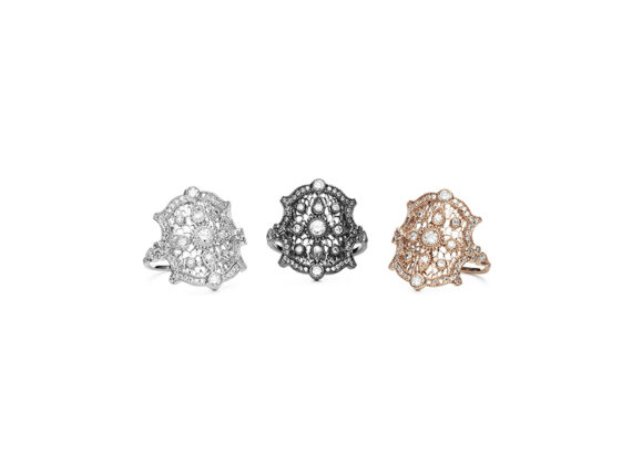 Stone Paris Suspicious Mind rings mounted on white, black and pink gold with diamonds