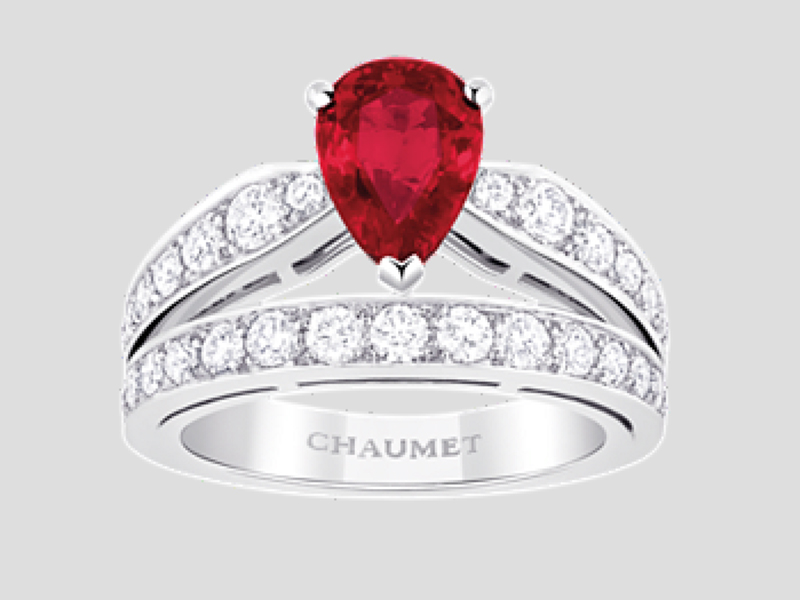 10- Chaumet: Diadème Joséphine The Ruby is a symbol of love and victory, happiness and passion. The Tiara ring inspired from Princess Josephine is made of platinum, brilliant cut diamonds and a pear-shape ruby worth 1 carat.