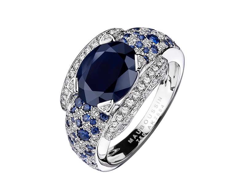 7- Mauboussin: Eternity and Elegance After diamonds, the sapphire is the most sold precious stone in the world. Evoking sincerity, happiness and loyalty the Mauboussin ring Eternity and Elegance set in white gold, blue sapphires and diamonds can be a choice of taste. (~ starting around 7'300 Euros)