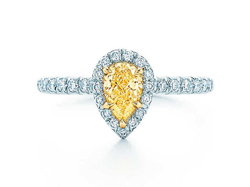 9- Tiffany & Co.: Tiffany Soleste The Tiffany Soleste is a pear shape yellow diamond mounted on white gold and paved brilliant cut diamond. (~ Starting at 11' 500 Euros)