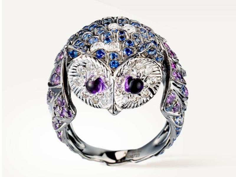 "2- Boucheron Noctua Ring ""La Chouette"" paved with brilliant cut purple amethysts, blue sapphires and diamonds."