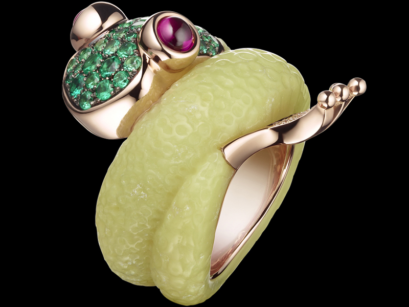 8- De Grisogono The mascote ring mounted on pink gold with emeralds, rubies and green alabastrite.