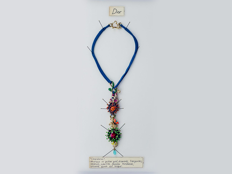 Dior Chardonus necklace black green and orange laquered petals leaves set on yellow gold with diamond or tanzanites, rubellite and spessartite garnet