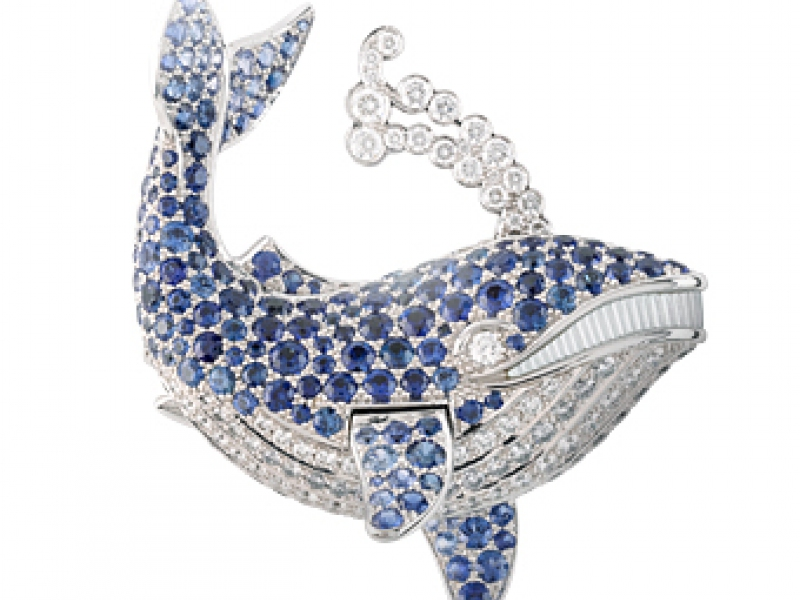 9- Van Cleef & Arpels Taken from the collection Les Voyages Extraordinaires, the blue whale or Baleine Blue Clip is mounted on white gold and different shades of blue sapphires and diamonds.