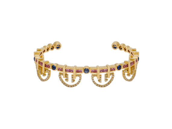 Alezan by SK Shanhan string dancer bangle yellow gold colored stones