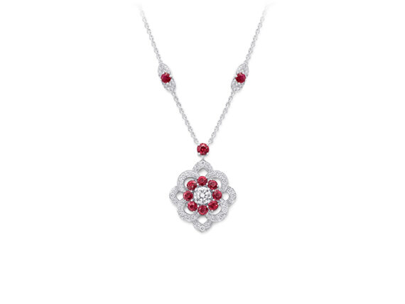 Graff Rosette Pendant set with diamonds and rubies
