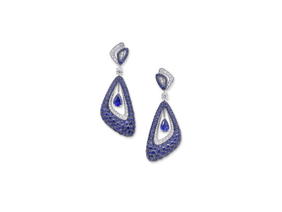 Graff Luna earrings set with diamonds and sapphires