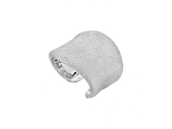 Lynn Ban Shagreen cuff mounted on sterling silver