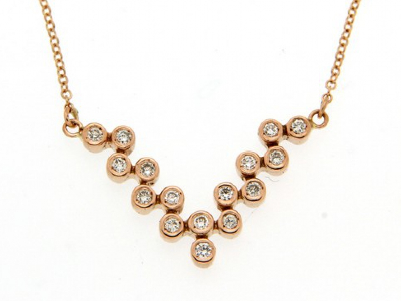 Panos & Savas necklace rose gold diamonds