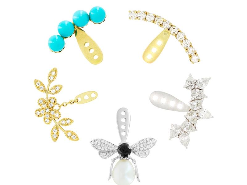 Yvonne Leon Dessous d'Oreilles - Turquoises, diamonds, pearls