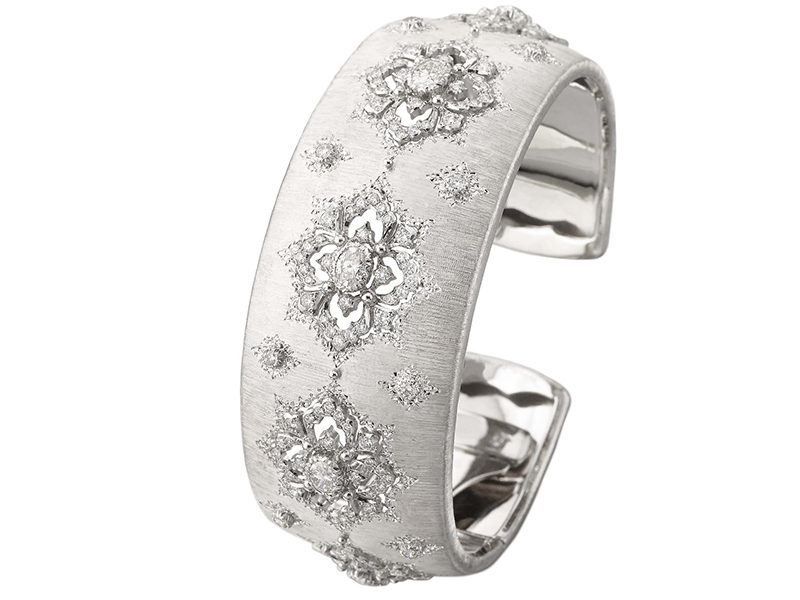 Buccellati Opera Bracelet set with 2.75 carats of diamonds on a 2.5 cm width white gold cuff