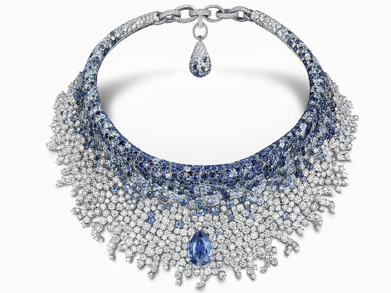 De Grisogono Opera collection - high jewelry necklace set with diamonds and sapphires
