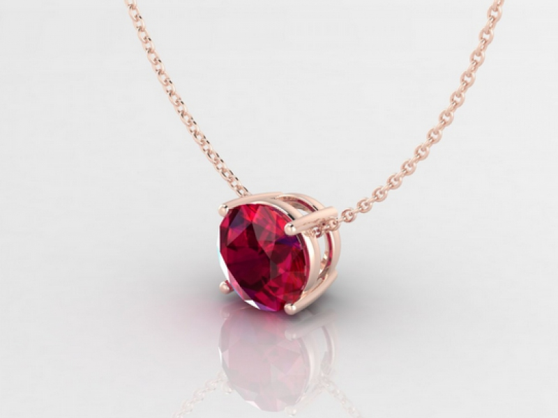 edendiam annaëlle pendant mounted on rose gold with ruby