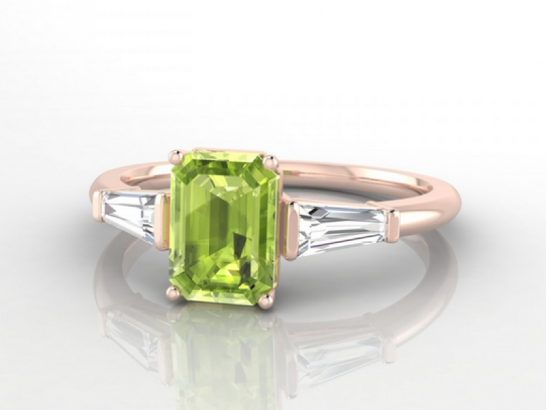 Edendiam Génie ring mounted on rose gold and peridot