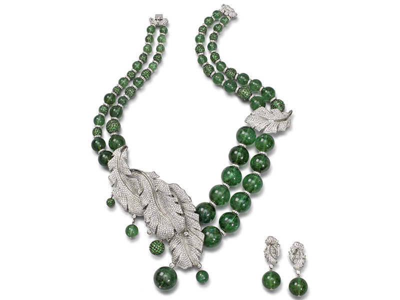 Fei Liu Green Tourmaline Beaded Necklace, large green tourmaline beaded necklace with diamond feathers / Images