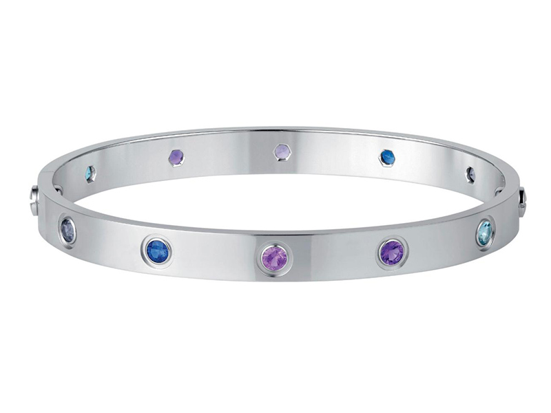 Love bracelet mounted on white gold with aquamarines, sapphires, spinels and amethysts