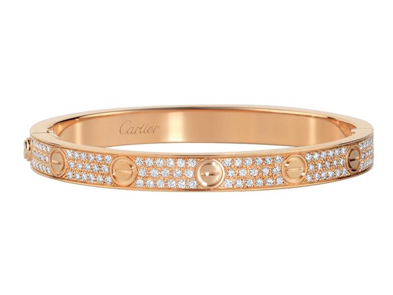 Cartier Love Bracelet, diamond-paved mounted on rose gold