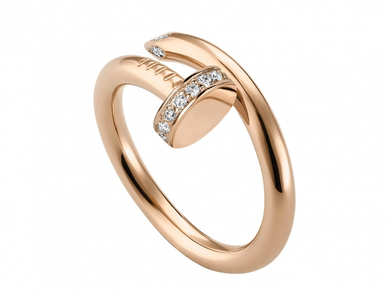 Cartier Just un Clou ring mounted on rose gold with diamonds