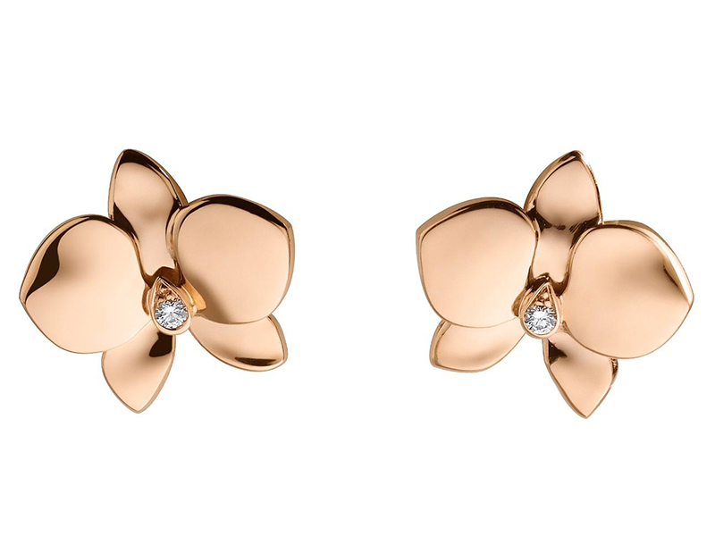 Cartier Caresse d'orchidées earrings mounted on rose gold with diamonds