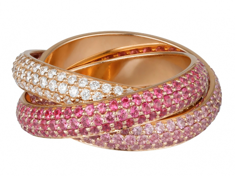 Cartier Trinity de Cartier ring mounted on rose gold with sapphires and diamonds