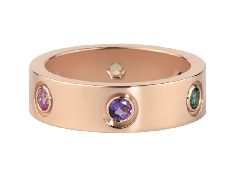 Cartier Love ring mounted on rose gold with sapphires, garnets and amethyst