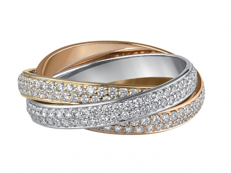 Cartier Trinity ring mounted on white, yellow and rose gold with diamonds