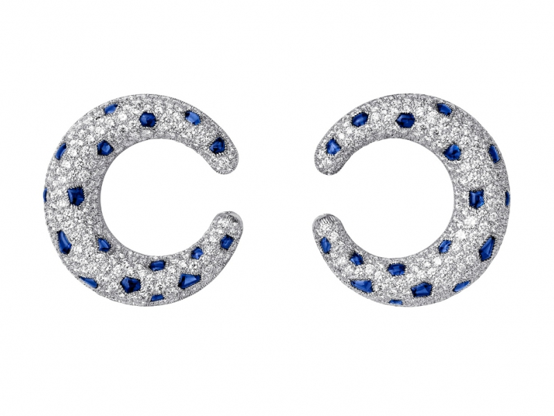 Cartier Panthère de Cartier earrings mounted on platinum with sapphires and diamonds