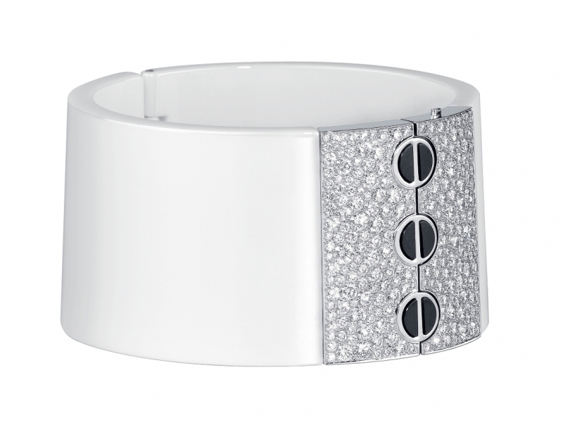 Cartier Love cuff bracelet mounted on white ceramic with diamonds