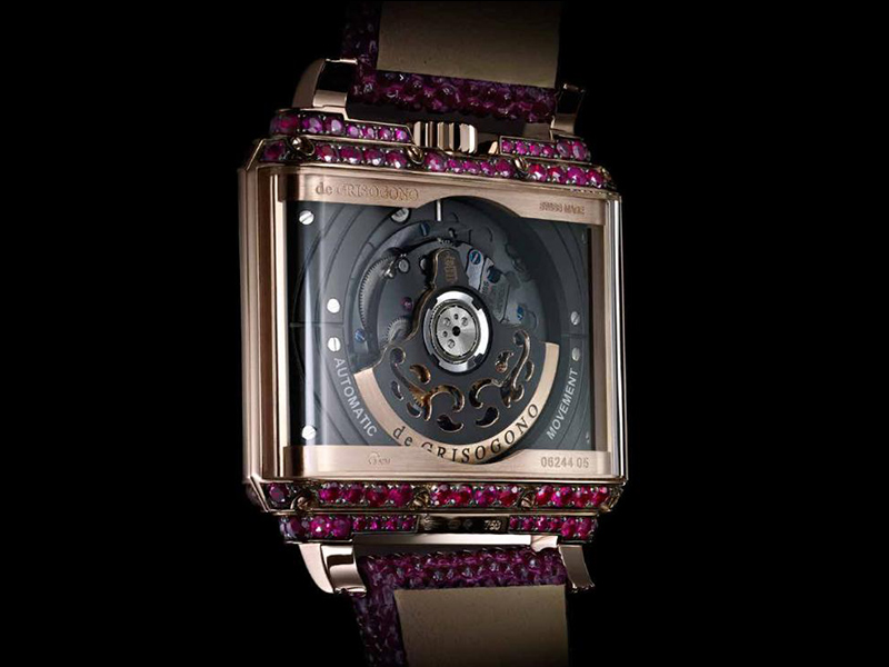 De Grisogono NEW RETRO W S03 watch gold open rubies pink gold black rhodium grains