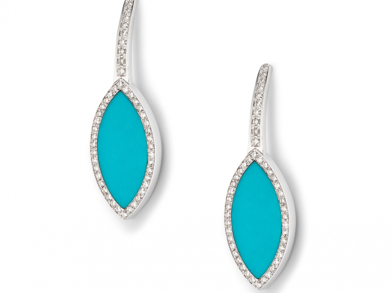 White gold earrings with turquoise and white diamonds Aura collection Hanadi keane