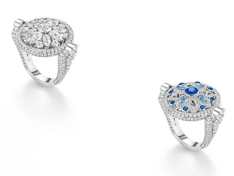 Harry Winston Secret and Wonders Reversible ring - set with diamonds on one side and sapphires, aquamarines and diamonds on the other