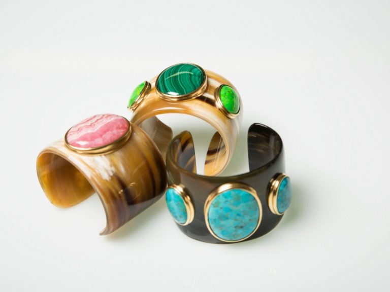 Helène Prime Horn cuff with rhodonite,malachite and amazonite