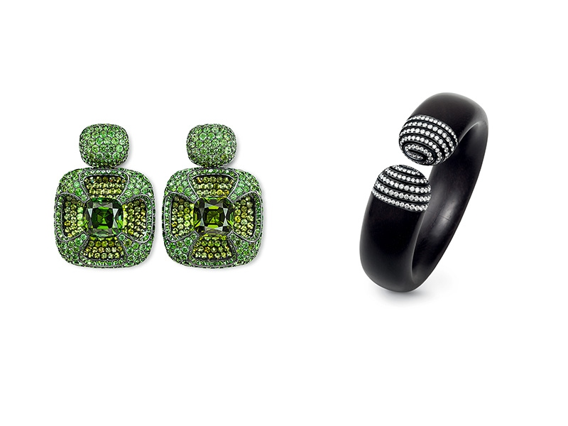 Hemmerle earrings incorporating tourmalines, demantoid garnets, silver and white gold. Photo courtesy of Hemmerle.