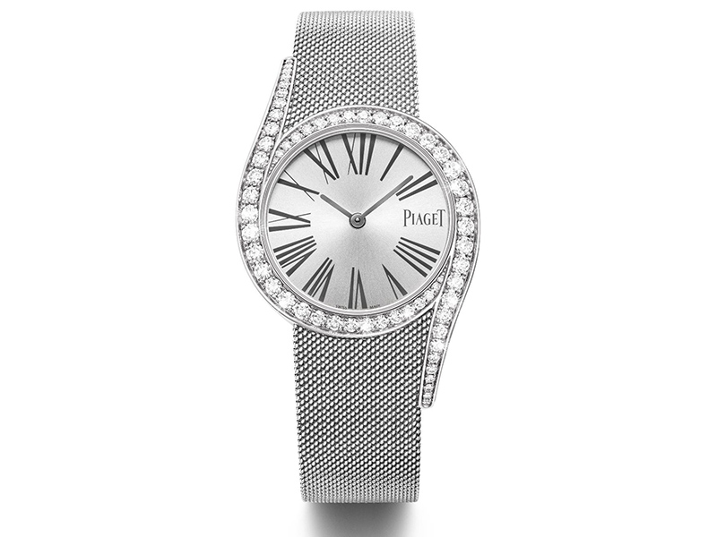 LIMELIGHT GALA WATCH Piaget Case in 18K white gold set with 62 brilliant-cut diamonds (approx. 1.75 ct). Milanese bracelet in 18K white gold. Buckle set with a brilliant-cut diamond (approx. 0.01 ct). Piaget 690P quartz