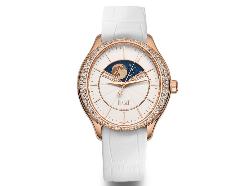 Limelight Stella watch, 36 mm. Case in 18K rose gold set with 126 brilliant-cut diamonds (approx. 0.65 ct). Dial set with 14 brilliant-cut diamonds (approx. 0.06 ct) with hour markers in 18K rose gold. Sapphire crystal case back. Manufacture Piaget 584P automatic mechanical movement with seconds indicator and moon phases watch white