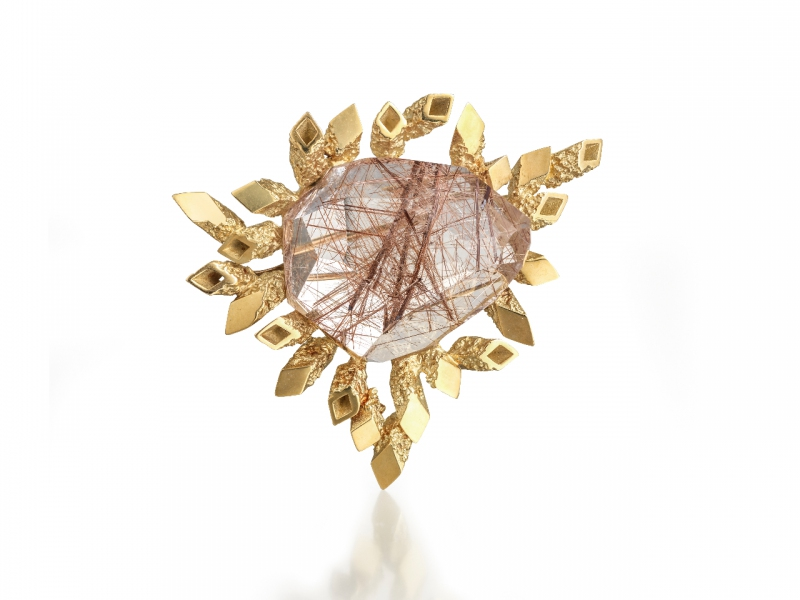 John Donald Brooch JAD_002, 1967, 18ct gold, radiating textured square tubes, rutilated rose quartz. Collection: The Worshipful Company of Goldsmiths