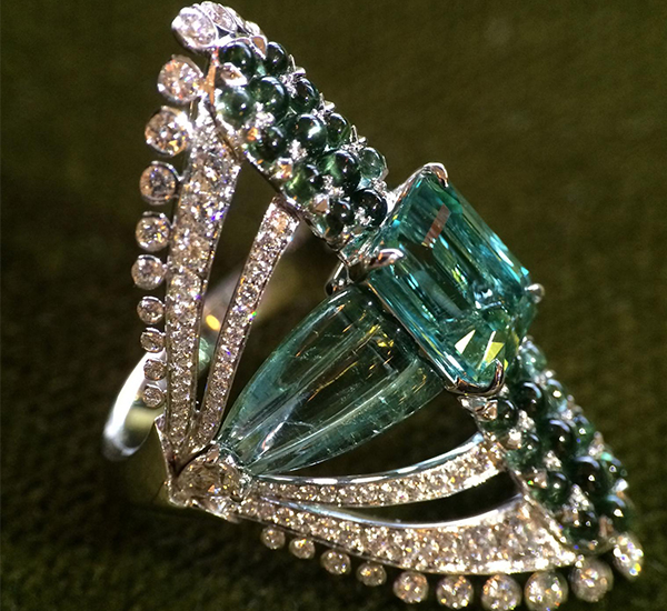 John Rubel Zsa Zsa Ring set with tourmalines and diamonds