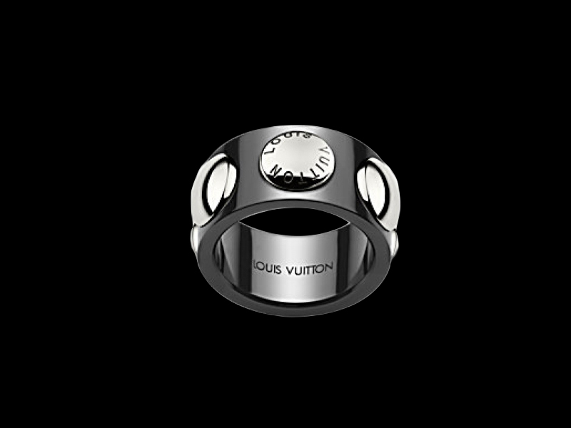 "Louis Vuitton- Large Clous Large ""clous"" ring in black ceramic and platinum (~ 3'000 Euros)"