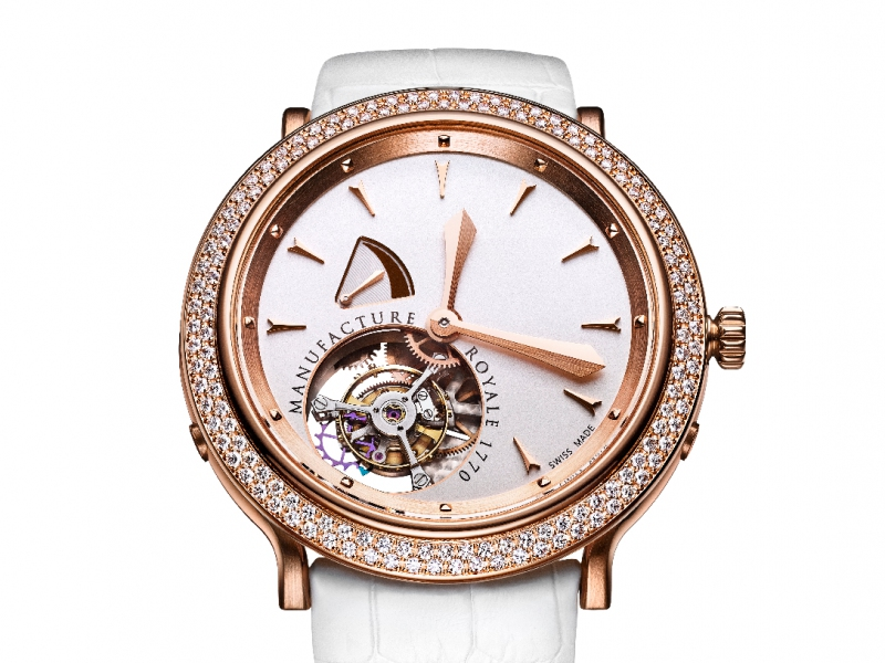 7- Manufacture Royale launched their 1770 feminine tourbillon set with one rank of diamond baguettes and ivory dial.