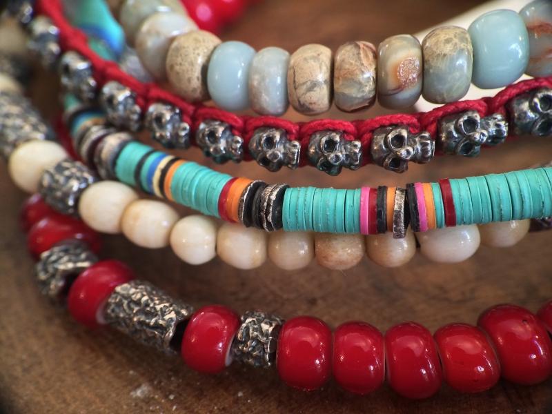M.Cohen bracelets red blue silver