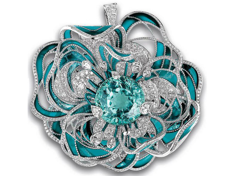Paraiba Tourmaline diamonds blue white gold