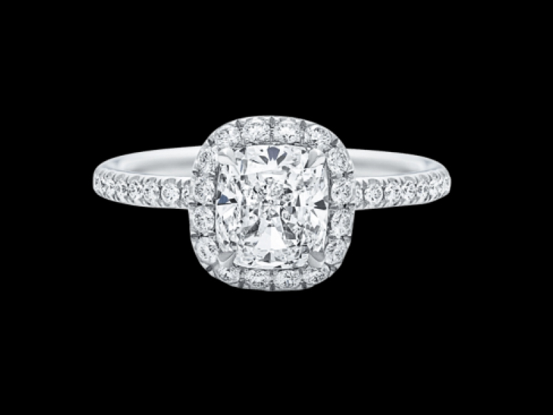 The One, Cushion-Cut Diamond Micropavé Engagement Ring harry Winston engagement ring