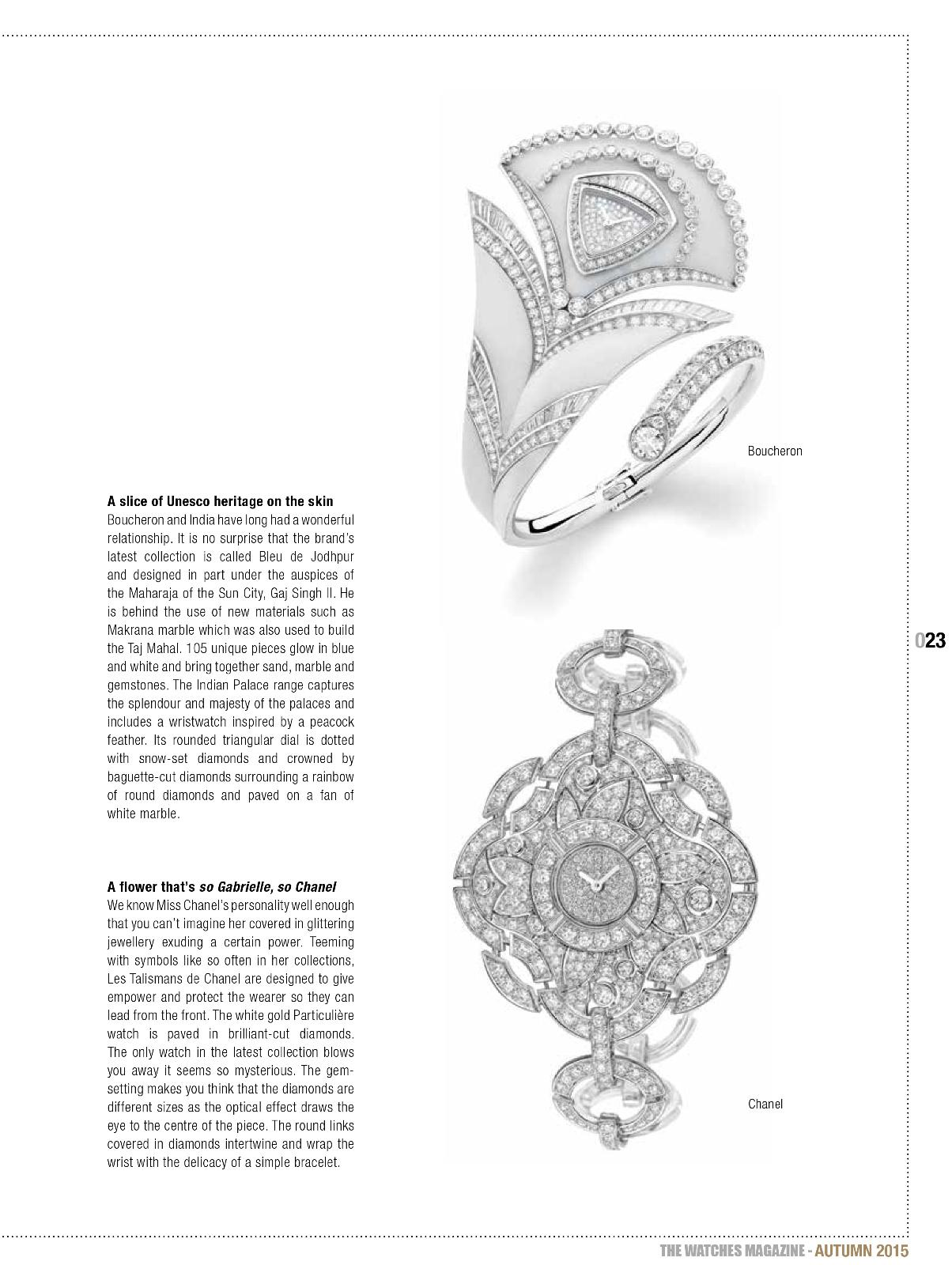 The Watches Magazine 42- When Haute Couture Meets Fine Watches Boucheron Chanel watches