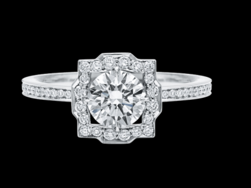 Belle by Harry Winston, Round Brilliant Diamond Micropavé Engagement Ring