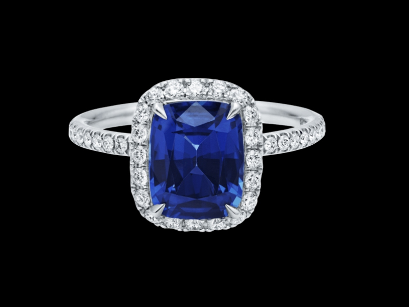 Harry Winston Cushion-cut Sapphire Micropavé Ring